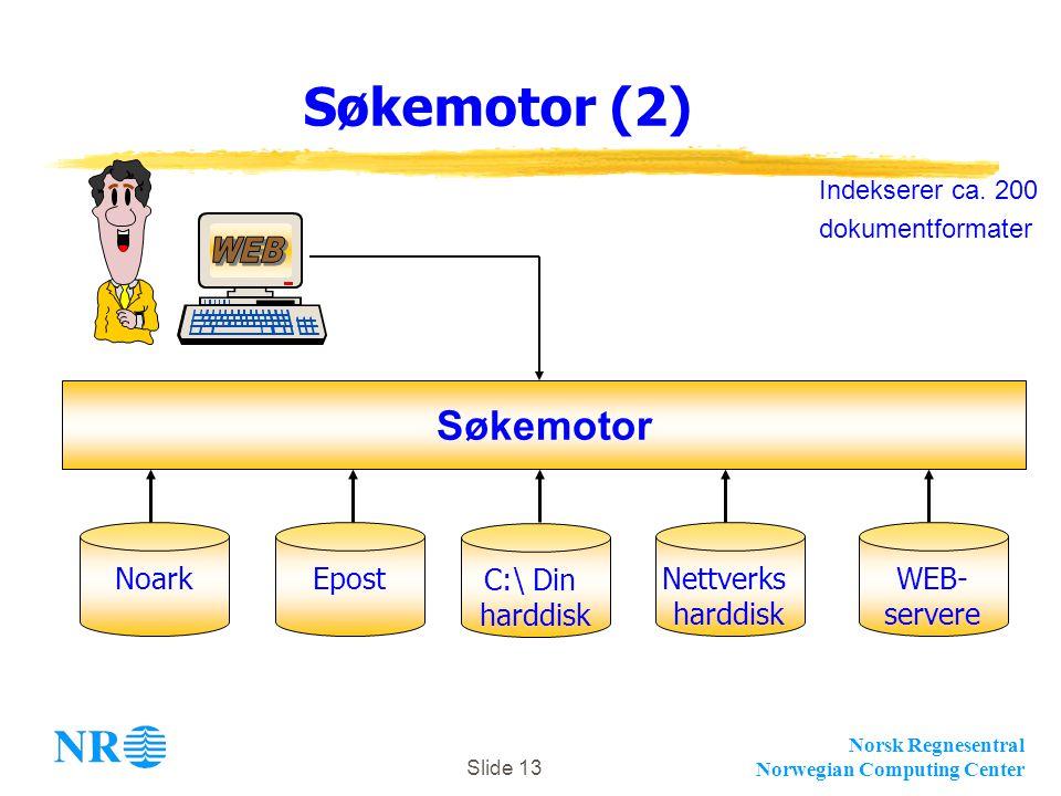 Norsk Regnesentral Norwegian Computing Center Slide 13 Søkemotor (2) NoarkEpost Søkemotor C:\ Din harddisk Nettverks harddisk WEB- servere Indekserer ca.