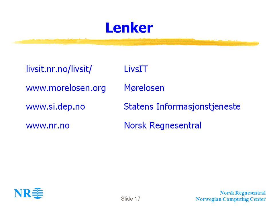 Norsk Regnesentral Norwegian Computing Center Slide 17 Lenker