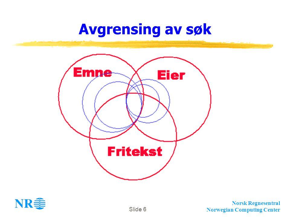 Norsk Regnesentral Norwegian Computing Center Slide 6 Avgrensing av søk