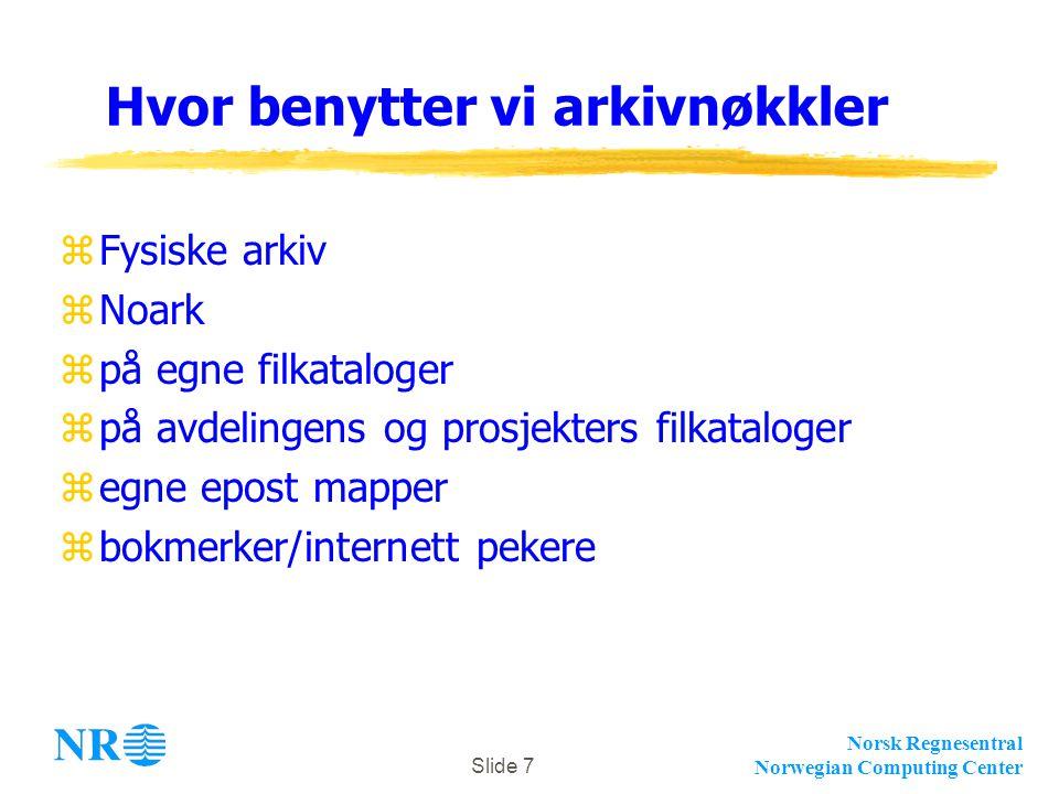 Norsk Regnesentral Norwegian Computing Center Slide 7 Hvor benytter vi arkivnøkkler zFysiske arkiv zNoark zpå egne filkataloger zpå avdelingens og prosjekters filkataloger zegne epost mapper zbokmerker/internett pekere