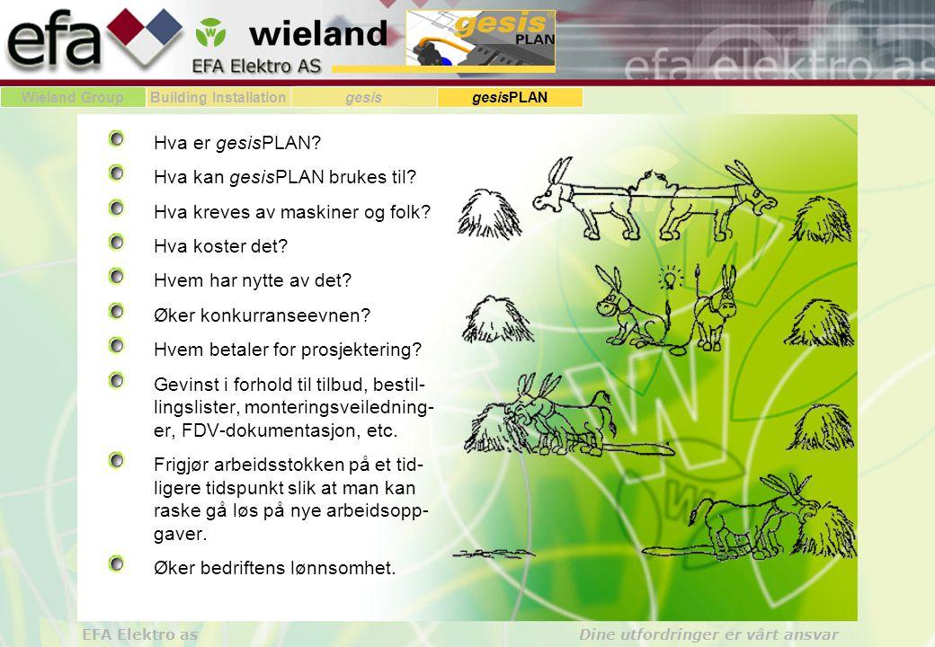Wieland GroupBuilding Installationgesis gesisPLAN EFA Elektro as Dine utfordringer er vårt ansvar Hva er gesisPLAN.