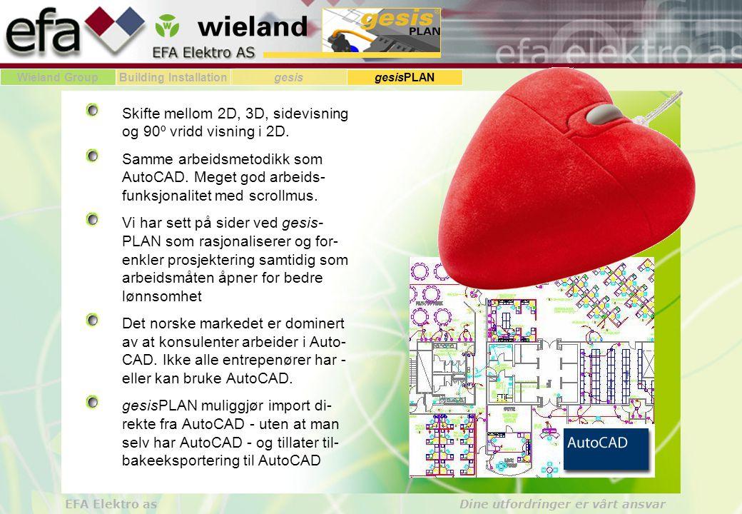 Wieland GroupBuilding Installationgesis gesisPLAN EFA Elektro as Dine utfordringer er vårt ansvar Skifte mellom 2D, 3D, sidevisning og 90º vridd visning i 2D.