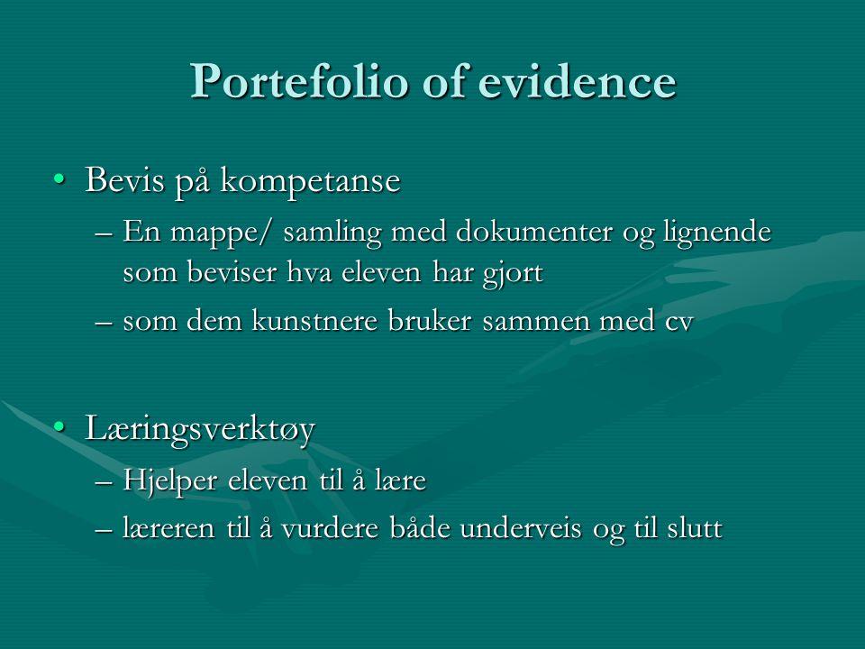 Portefolio of evidence Bevis på kompetanseBevis på kompetanse –En mappe/ samling med dokumenter og lignende som beviser hva eleven har gjort –som dem
