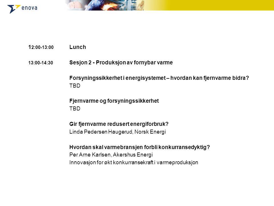 1 2:00-13:00 Lunch 13:00-14:30 Sesjon 2 - Produksjon av fornybar varme Forsyningssikkerhet i energisystemet – hvordan kan fjernvarme bidra.