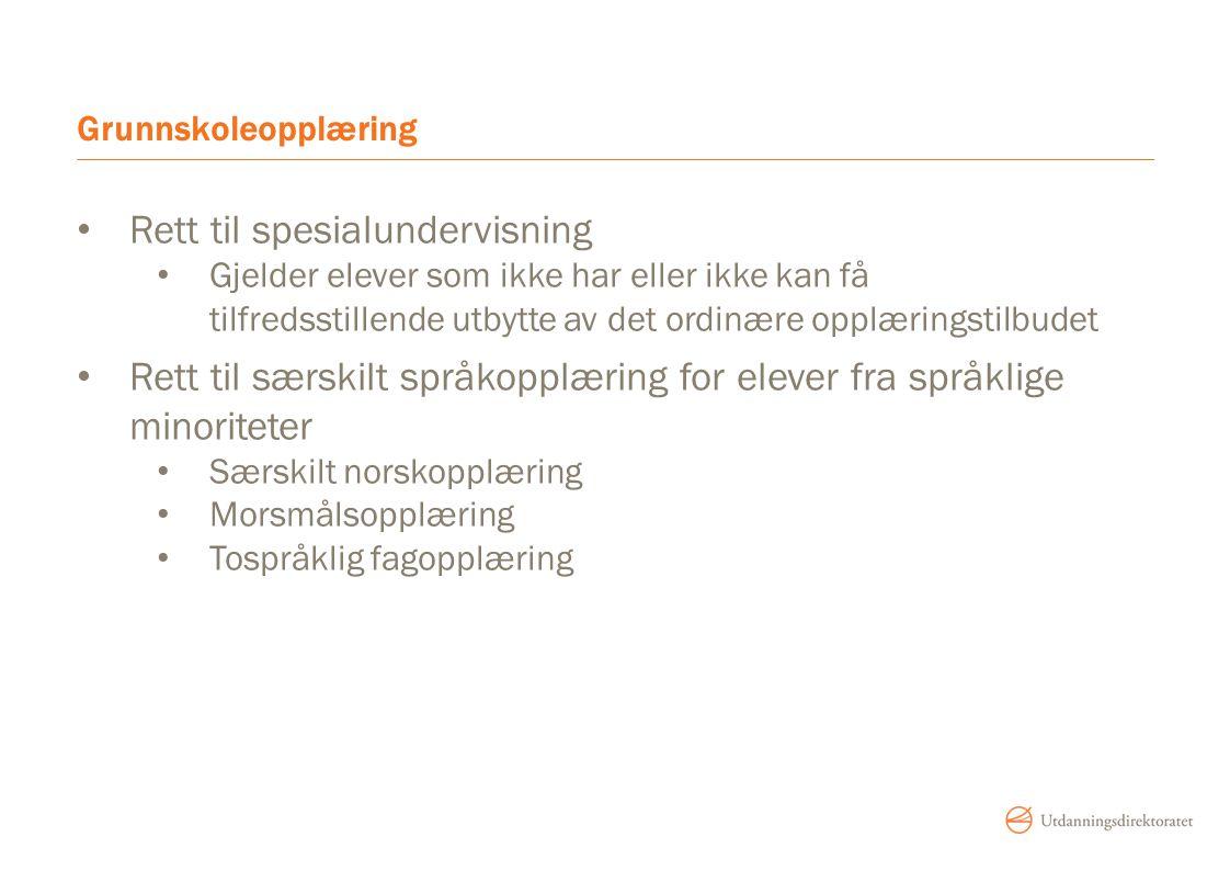 Grunnskoleopplæring Rett til spesialundervisning Gjelder elever som ikke har eller ikke kan få tilfredsstillende utbytte av det ordinære opplæringstilbudet Rett til særskilt språkopplæring for elever fra språklige minoriteter Særskilt norskopplæring Morsmålsopplæring Tospråklig fagopplæring