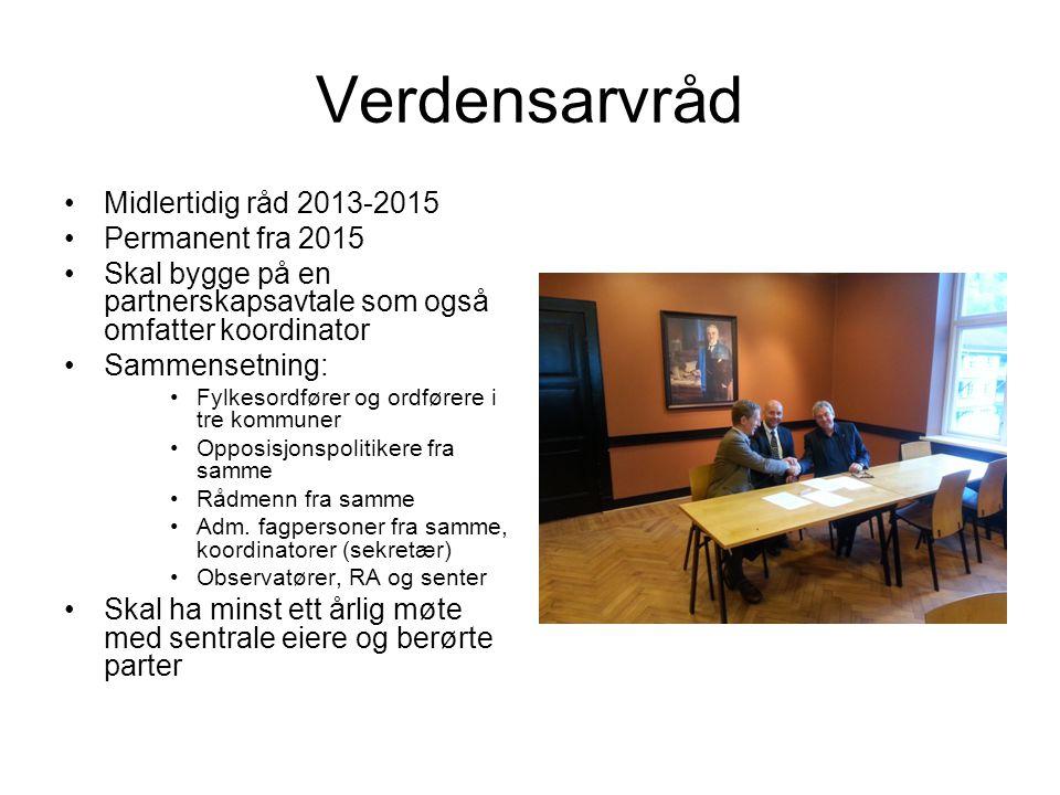 Verdensarvråd Midlertidig råd 2013-2015 Permanent fra 2015 Skal bygge på en partnerskapsavtale som også omfatter koordinator Sammensetning: Fylkesordf