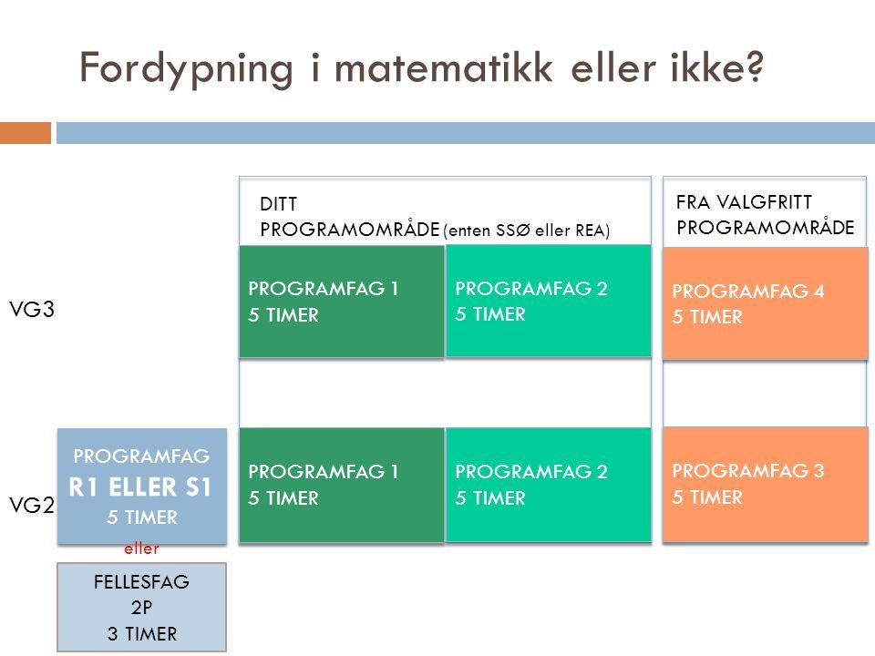 Fordypning i matematikk eller ikke? PROGRAMFAG 1 5 TIMER PROGRAMFAG 1 5 TIMER PROGRAMFAG 2 5 TIMER PROGRAMFAG 2 5 TIMER PROGRAMFAG 1 5 TIMER PROGRAMFA
