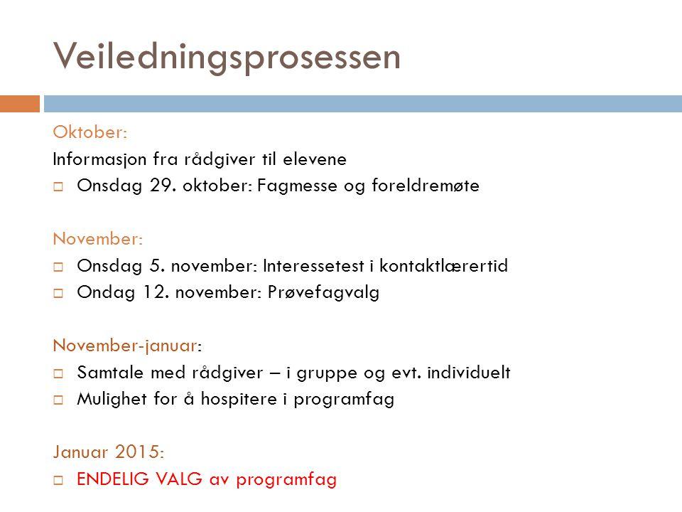 Veiledningsprosessen Oktober: Informasjon fra rådgiver til elevene  Onsdag 29. oktober: Fagmesse og foreldremøte November:  Onsdag 5. november: Inte