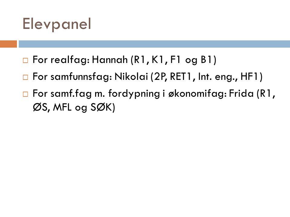 Elevpanel  For realfag: Hannah (R1, K1, F1 og B1)  For samfunnsfag: Nikolai (2P, RET1, Int. eng., HF1)  For samf.fag m. fordypning i økonomifag: Fr