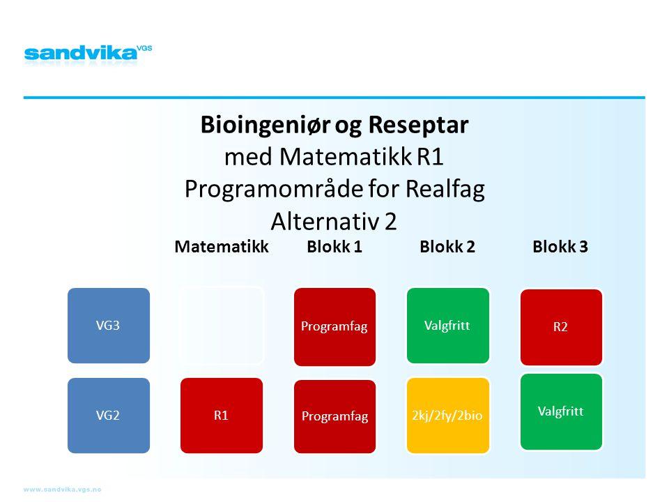 Bioingeniør og Reseptar med Matematikk R1 Programområde for Realfag Alternativ 2 VG3VG2 Matematikk R1 Blokk 1 Programfag Blokk 2 Valgfritt2kj/2fy/2bio