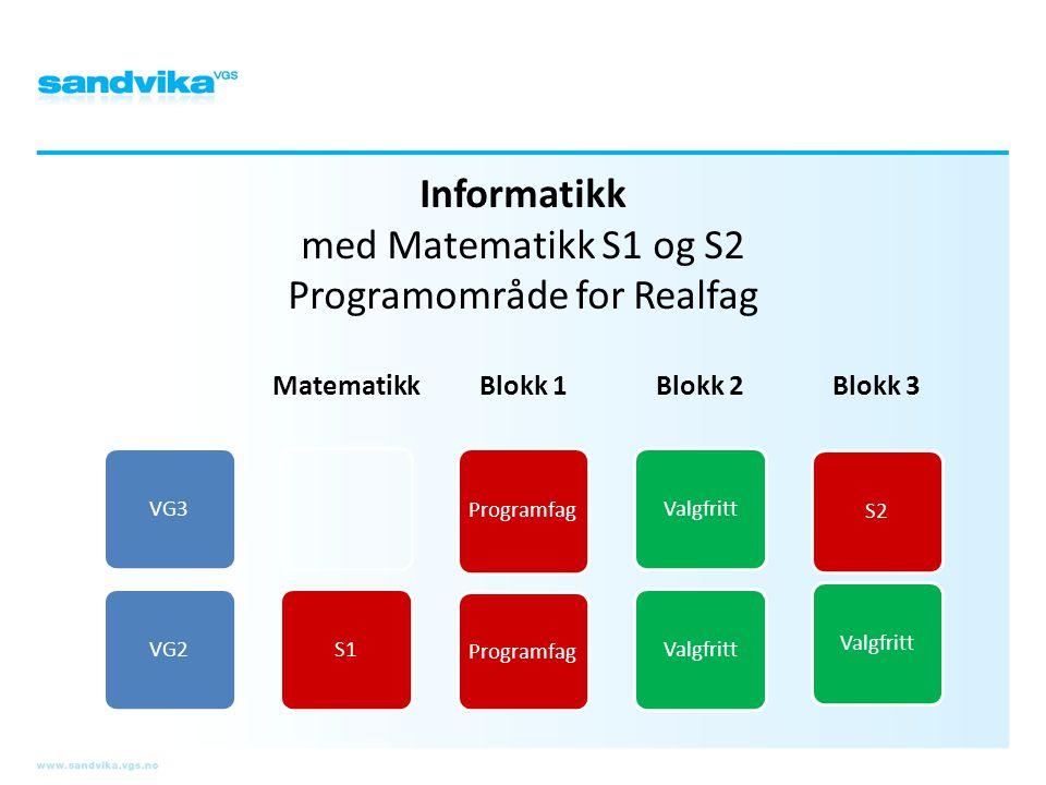 Informatikk med Matematikk S1 og S2 Programområde for Realfag VG3VG2 Matematikk S1 Blokk 1 Programfag Blokk 2 Valgfritt Blokk 3 S2Valgfritt