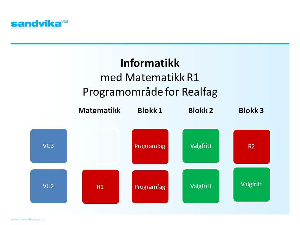 Informatikk med Matematikk R1 Programområde for Realfag VG3VG2 Matematikk R1 Blokk 1 Programfag Blokk 2 Valgfritt Blokk 3 R2Valgfritt