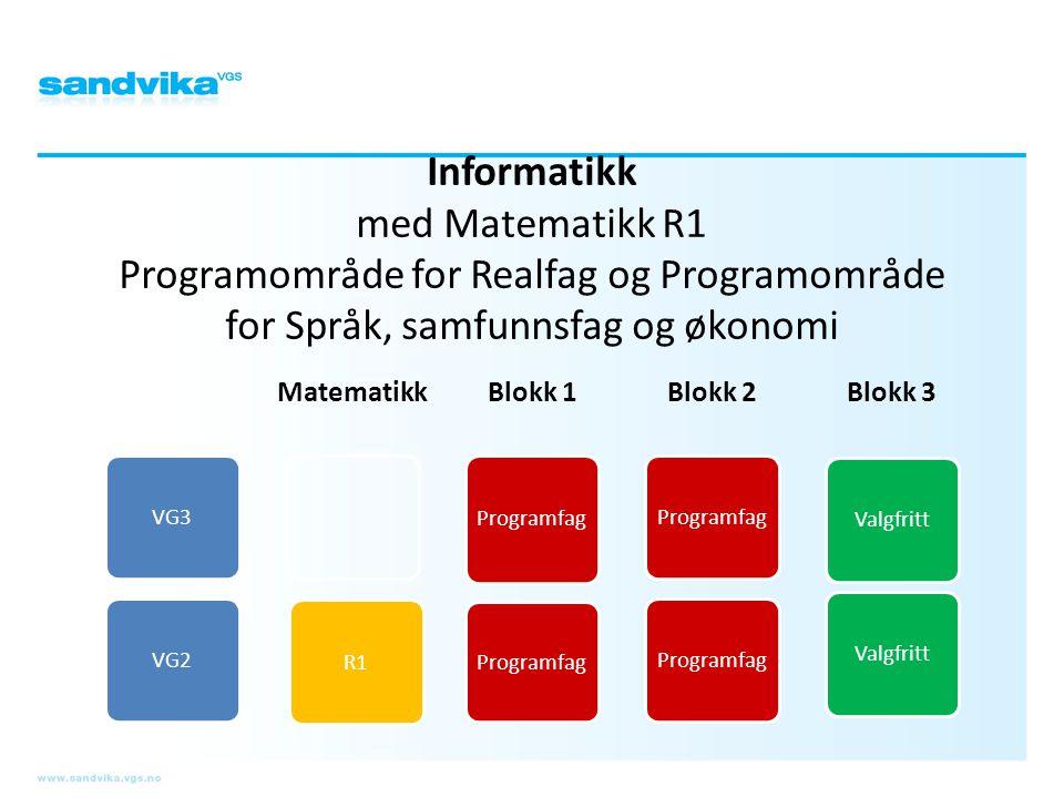Informatikk med Matematikk R1 Programområde for Realfag og Programområde for Språk, samfunnsfag og økonomi VG3VG2 Matematikk R1 Blokk 1 Programfag Blo