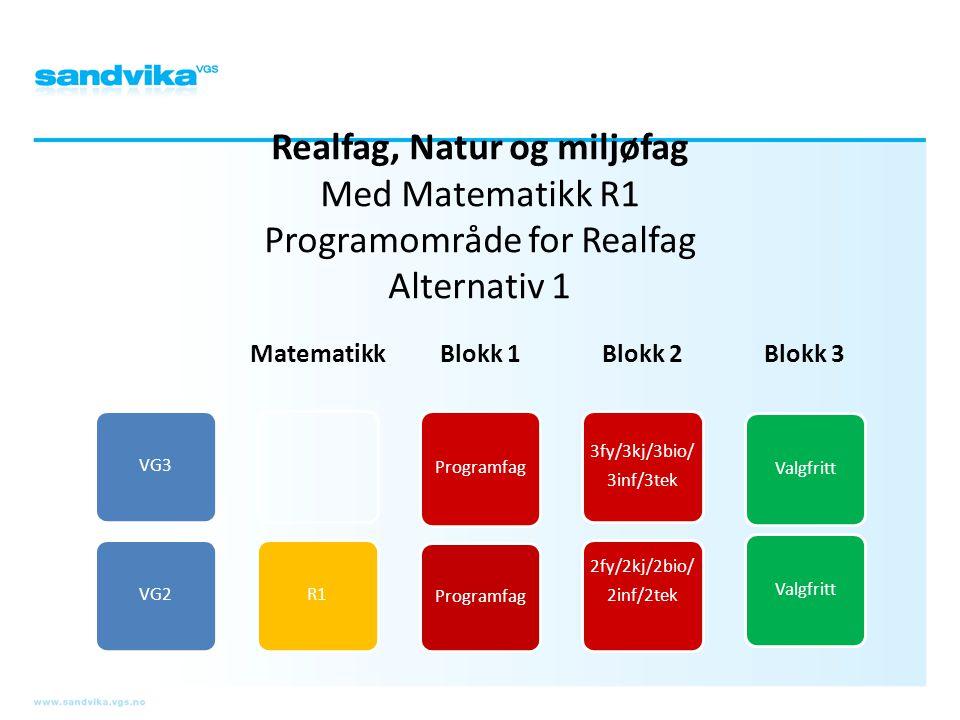 Realfag, Natur og miljøfag Med Matematikk R1 Programområde for Realfag Alternativ 1 VG3VG2 Matematikk R1 Blokk 1 Programfag Blokk 2 3fy/3kj/3bio/ 3inf