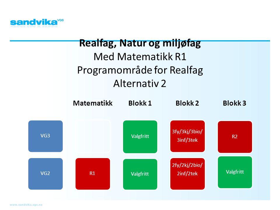 Realfag, Natur og miljøfag Med Matematikk R1 Programområde for Realfag Alternativ 2 VG3VG2 Matematikk R1 Blokk 1 Valgfritt Blokk 2 3fy/3kj/3bio/ 3inf/