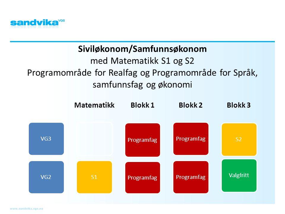 Siviløkonom/Samfunnsøkonom med Matematikk S1 og S2 Programområde for Realfag og Programområde for Språk, samfunnsfag og økonomi VG3VG2 Matematikk S1 B