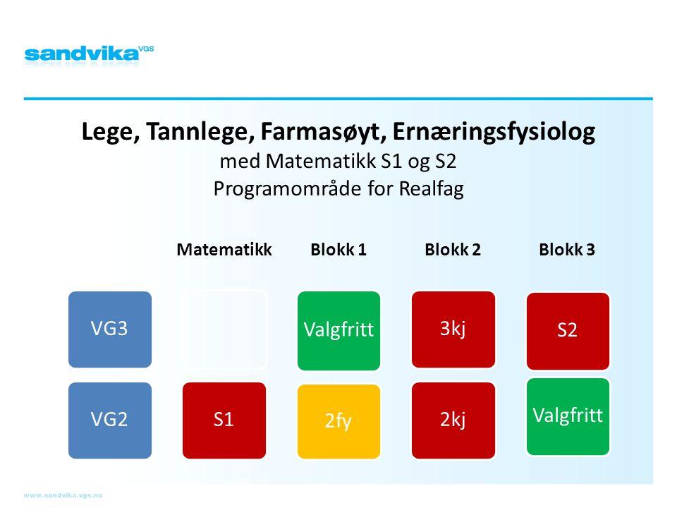 Lege, Tannlege, Farmasøyt, Ernæringsfysiolog med Matematikk S1 og S2 Programområde for Realfag VG3VG2 Matematikk S1 Blokk 1 Valgfritt 2fy Blokk 2 3kj2