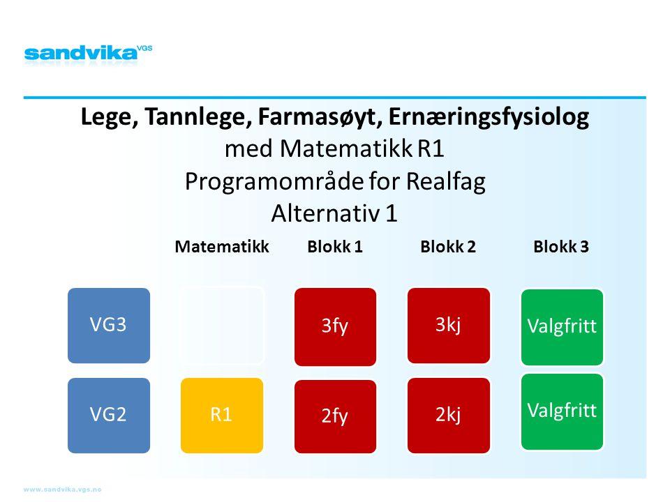 Lege, Tannlege, Farmasøyt, Ernæringsfysiolog med Matematikk R1 Programområde for Realfag Alternativ 1 VG3VG2 Matematikk R1 Blokk 1 3fy 2fy Blokk 2 3kj
