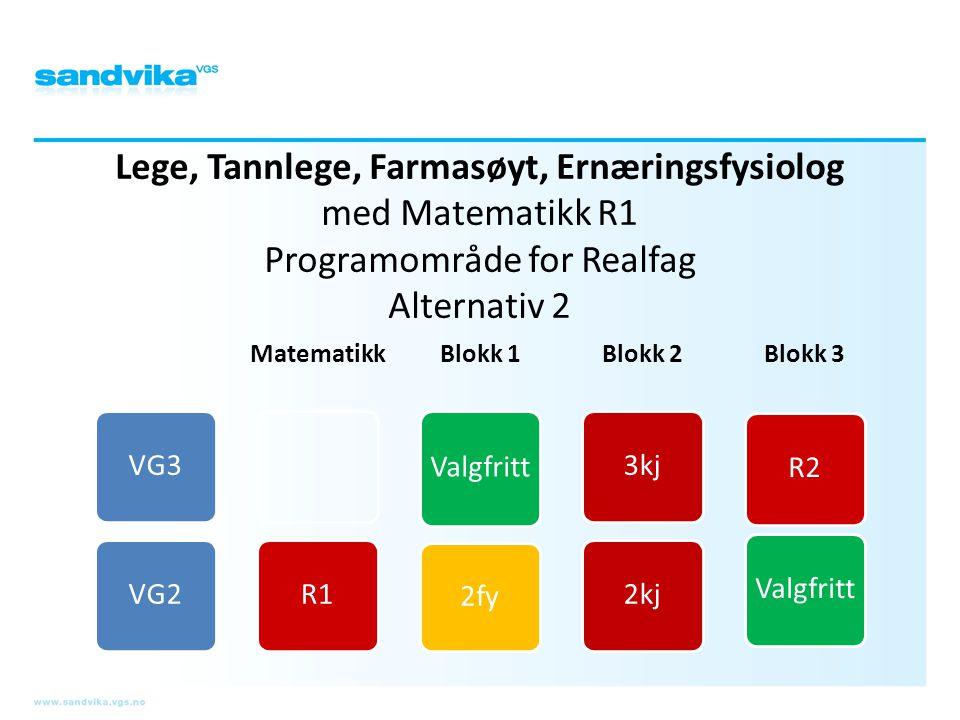 Lege, Tannlege, Farmasøyt, Ernæringsfysiolog med Matematikk R1 Programområde for Realfag Alternativ 2 VG3VG2 Matematikk R1 Blokk 1 Valgfritt 2fy Blokk