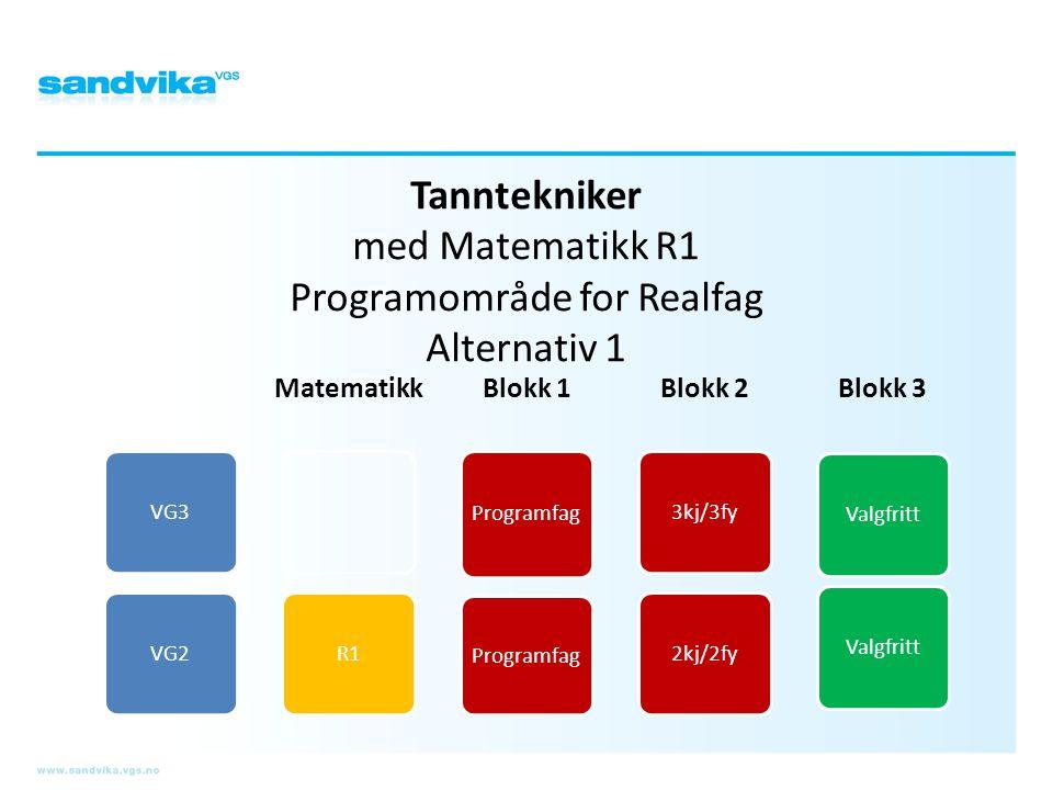 Tanntekniker med Matematikk R1 Programområde for Realfag Alternativ 1 VG3VG2 Matematikk R1 Blokk 1 Programfag Blokk 2 3kj/3fy2kj/2fy Blokk 3 Valgfritt