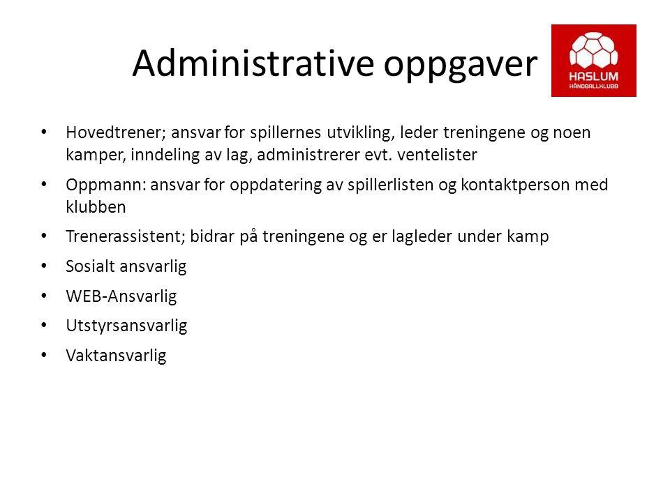 Administrative oppgaver Hovedtrener; ansvar for spillernes utvikling, leder treningene og noen kamper, inndeling av lag, administrerer evt. venteliste