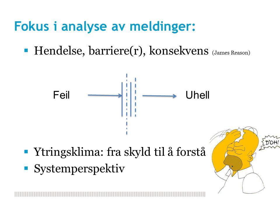 Fokus i analyse av meldinger:  Hendelse, barriere(r), konsekvens (James Reason)  Ytringsklima: fra skyld til å forstå  Systemperspektiv FeilUhell