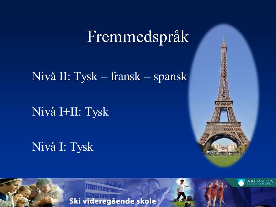 Fremmedspråk Nivå II: Tysk – fransk – spansk Nivå I+II: Tysk Nivå I: Tysk
