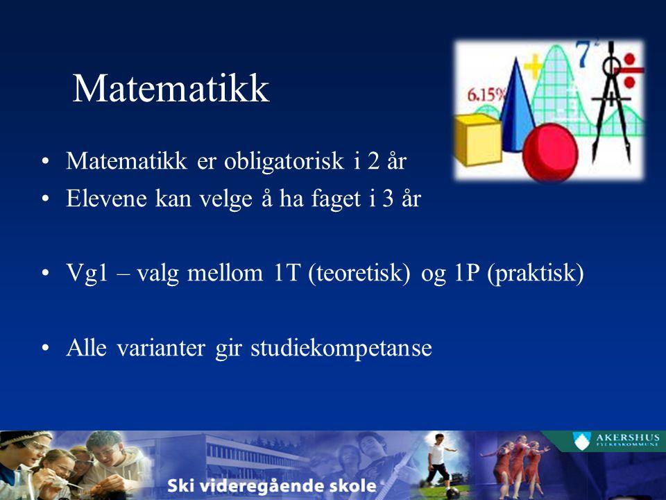 Matematikk Matematikk er obligatorisk i 2 år Elevene kan velge å ha faget i 3 år Vg1 – valg mellom 1T (teoretisk) og 1P (praktisk) Alle varianter gir