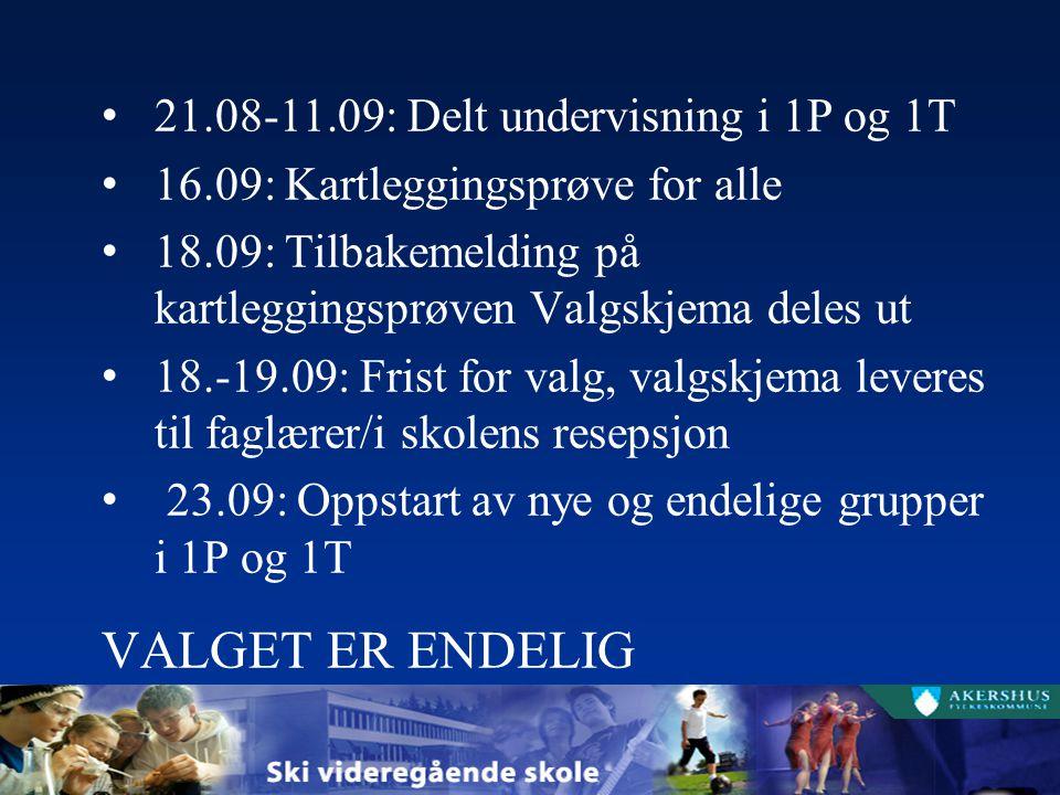 21.08-11.09: Delt undervisning i 1P og 1T 16.09: Kartleggingsprøve for alle 18.09: Tilbakemelding på kartleggingsprøven Valgskjema deles ut 18.-19.09: