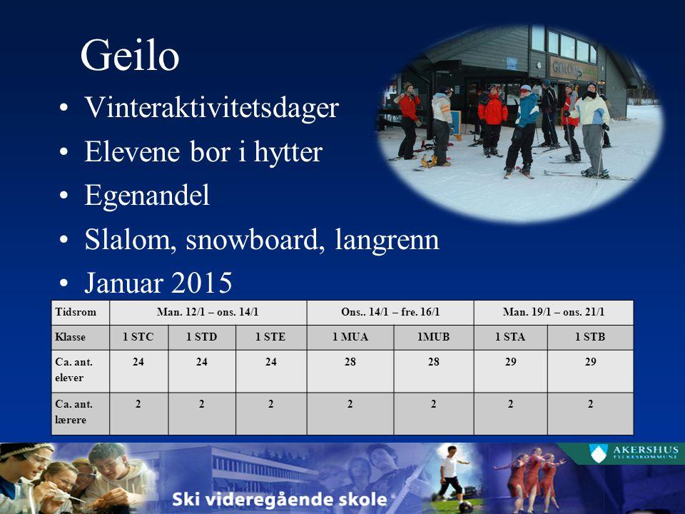 Geilo Vinteraktivitetsdager Elevene bor i hytter Egenandel Slalom, snowboard, langrenn Januar 2015 TidsromMan. 12/1 – ons. 14/1Ons.. 14/1 – fre. 16/1M