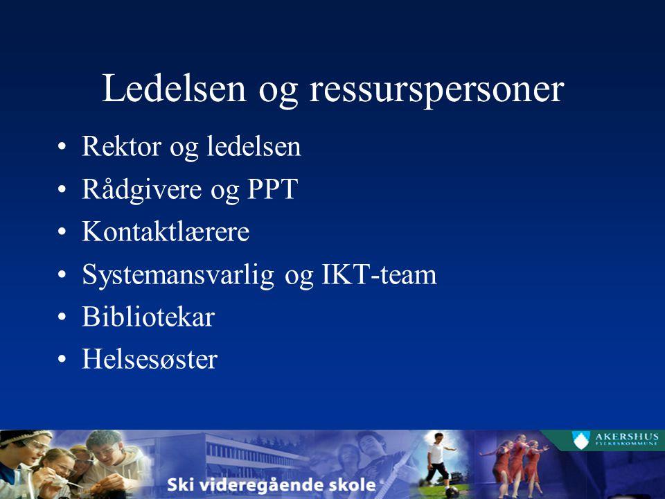 Ledelsen og ressurspersoner Rektor og ledelsen Rådgivere og PPT Kontaktlærere Systemansvarlig og IKT-team Bibliotekar Helsesøster