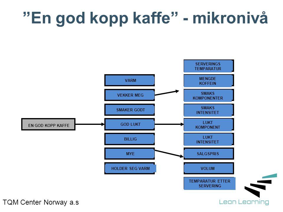"""TQM Center Norway a.s """"En god kopp kaffe"""" - mikronivå EN GOD KOPP KAFFE VARM VEKKER MEG SMAKER GODT GOD LUKT BILLIG MYE HOLDER SEG VARM SERVERINGS TEM"""