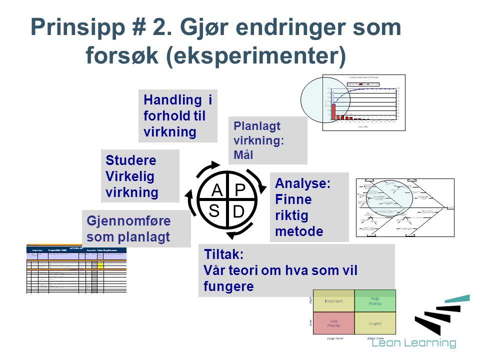 Prinsipp # 2. Gjør endringer som forsøk (eksperimenter) P D S A Planlagt virkning: Mål Analyse: Finne riktig metode Tiltak: Vår teori om hva som vil f