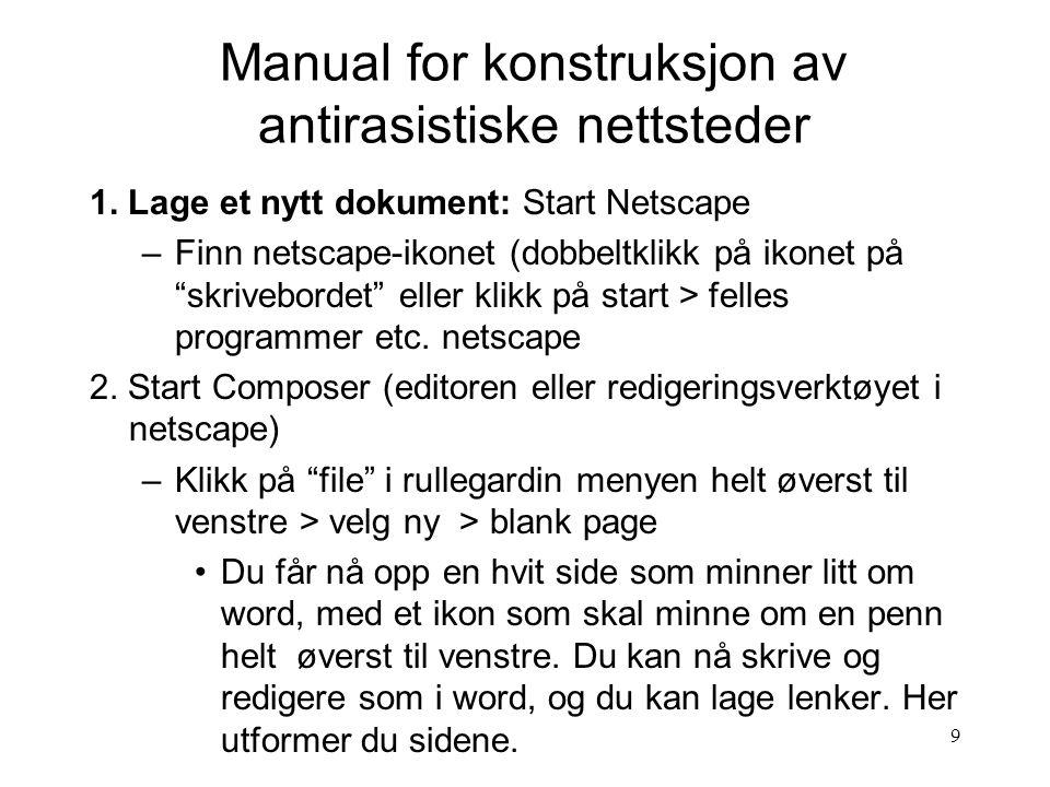 9 Manual for konstruksjon av antirasistiske nettsteder 1.