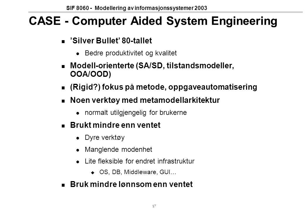 17 SIF 8060 - Modellering av informasjonssystemer 2003 CASE - Computer Aided System Engineering 'Silver Bullet' 80-tallet Bedre produktivitet og kvalitet Modell-orienterte (SA/SD, tilstandsmodeller, OOA/OOD) (Rigid ) fokus på metode, oppgaveautomatisering Noen verktøy med metamodellarkitektur normalt utilgjengelig for brukerne Brukt mindre enn ventet Dyre verktøy Manglende modenhet Lite fleksible for endret infrastruktur  OS, DB, Middleware, GUI… Bruk mindre lønnsom enn ventet