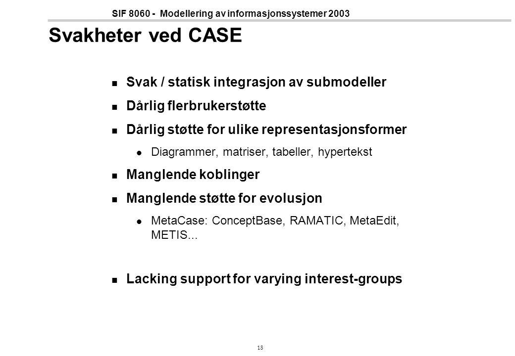 18 SIF 8060 - Modellering av informasjonssystemer 2003 Svakheter ved CASE Svak / statisk integrasjon av submodeller Dårlig flerbrukerstøtte Dårlig støtte for ulike representasjonsformer Diagrammer, matriser, tabeller, hypertekst Manglende koblinger Manglende støtte for evolusjon MetaCase: ConceptBase, RAMATIC, MetaEdit, METIS...