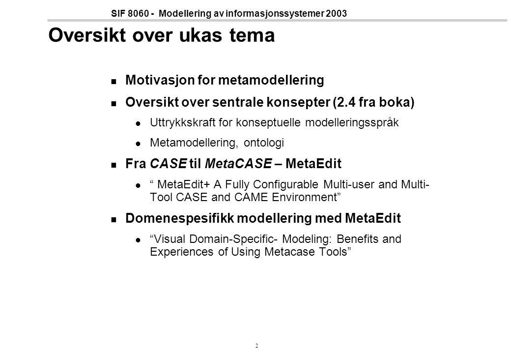 2 SIF 8060 - Modellering av informasjonssystemer 2003 Oversikt over ukas tema Motivasjon for metamodellering Oversikt over sentrale konsepter (2.4 fra boka) Uttrykkskraft for konseptuelle modelleringsspråk Metamodellering, ontologi Fra CASE til MetaCASE – MetaEdit MetaEdit+ A Fully Configurable Multi-user and Multi- Tool CASE and CAME Environment Domenespesifikk modellering med MetaEdit Visual Domain-Specific- Modeling: Benefits and Experiences of Using Metacase Tools