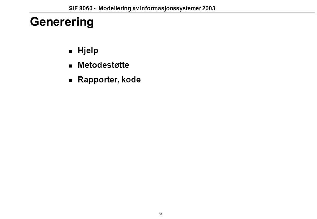 25 SIF 8060 - Modellering av informasjonssystemer 2003 Generering Hjelp Metodestøtte Rapporter, kode