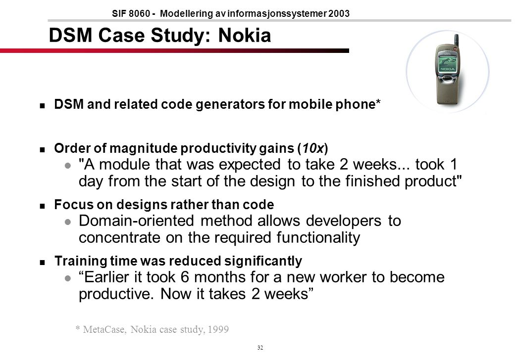 32 SIF 8060 - Modellering av informasjonssystemer 2003 DSM Case Study: Nokia DSM and related code generators for mobile phone* Order of magnitude productivity gains (10x) A module that was expected to take 2 weeks...