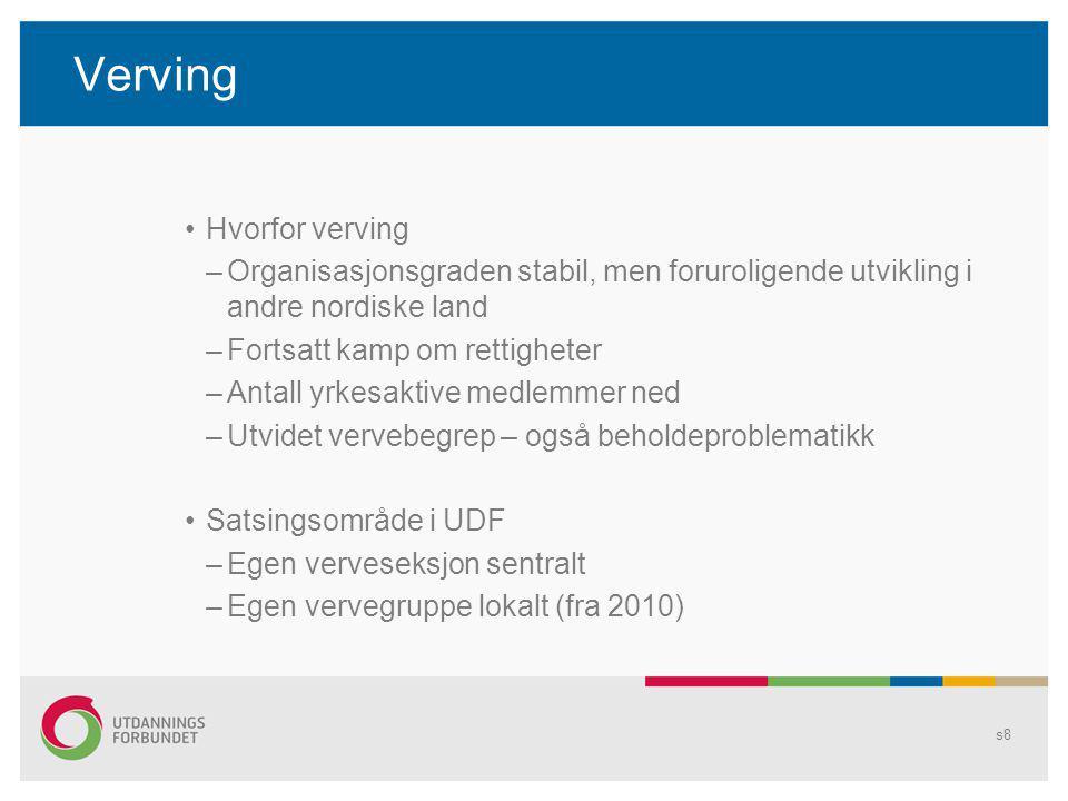 Verving Hvorfor verving –Organisasjonsgraden stabil, men foruroligende utvikling i andre nordiske land –Fortsatt kamp om rettigheter –Antall yrkesakti