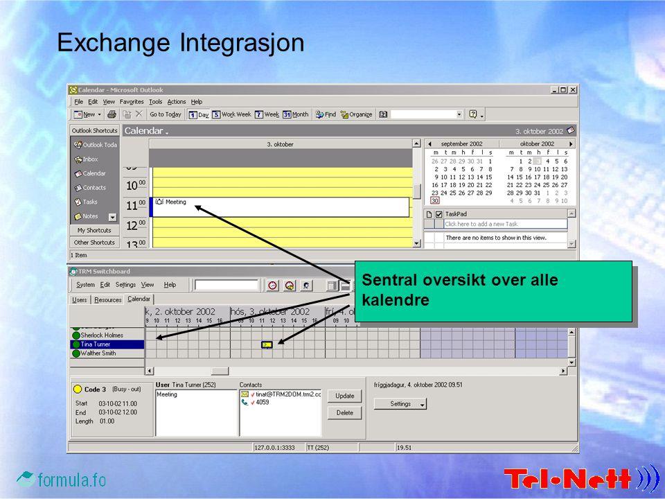 Exchange Integrasjon Avtaler synkroniseres mellom Outlook og TotalView Sentral oversikt over alle kalendre