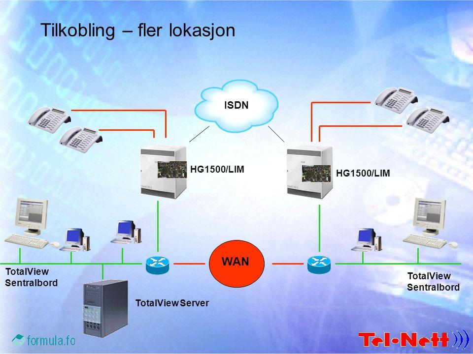 Tilkobling – fler lokasjon ISDN WAN HG1500/LIM TotalView Sentralbord TotalView Server