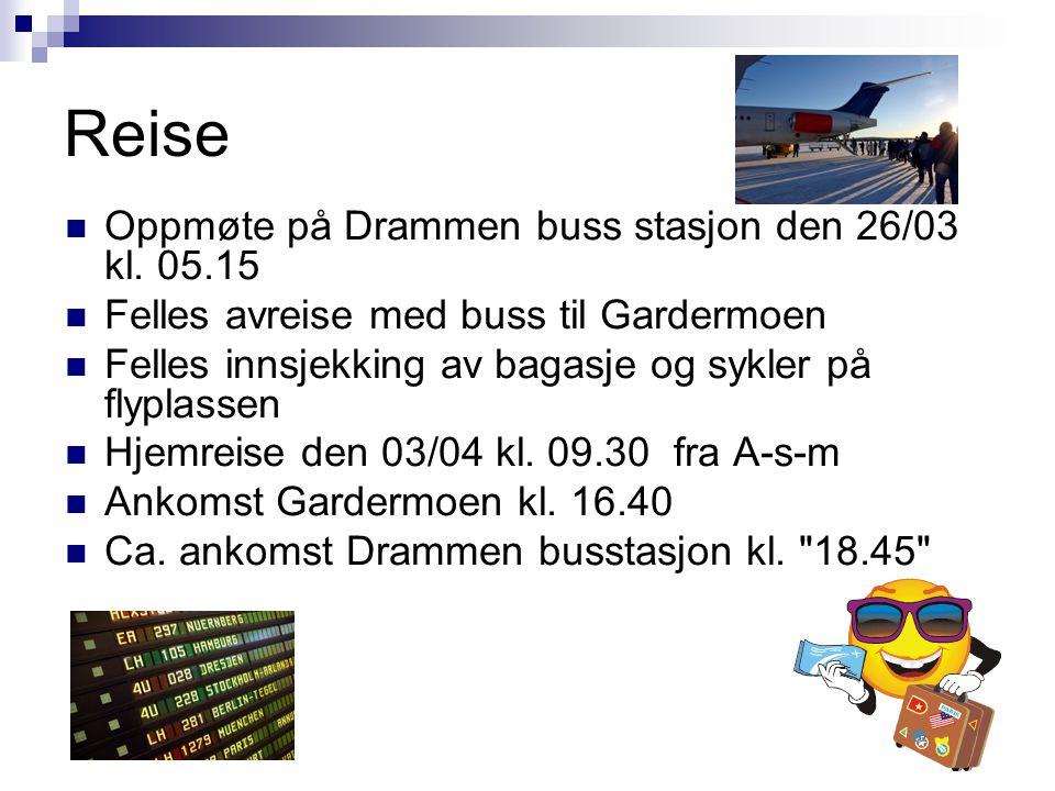 Kostnader Buss t/r Drammen – Gardermoen Fly med SAS med sykkel t/r Barcelona Buss t/r Barcelona – Argelès-sur-mer Hotell 8 netter i dd rom med frokostbuffet Totalt: «ca.