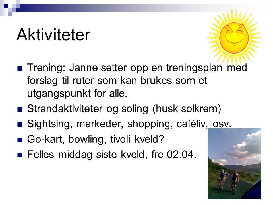 Aktiviteter Trening: Janne setter opp en treningsplan med forslag til ruter som kan brukes som et utgangspunkt for alle.