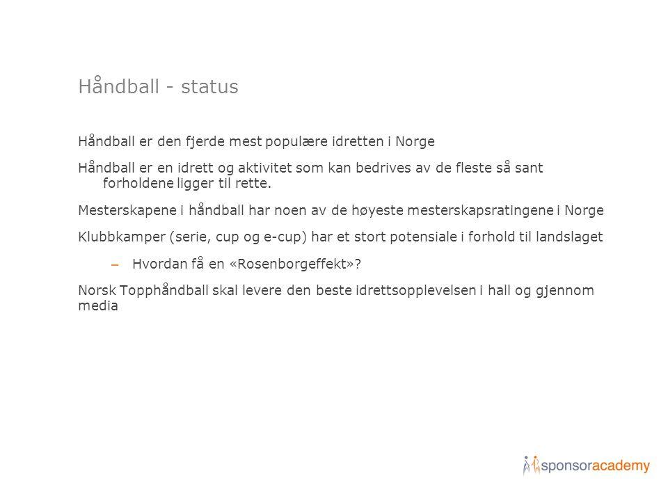 Håndball - status Håndball er den fjerde mest populære idretten i Norge Håndball er en idrett og aktivitet som kan bedrives av de fleste så sant forholdene ligger til rette.
