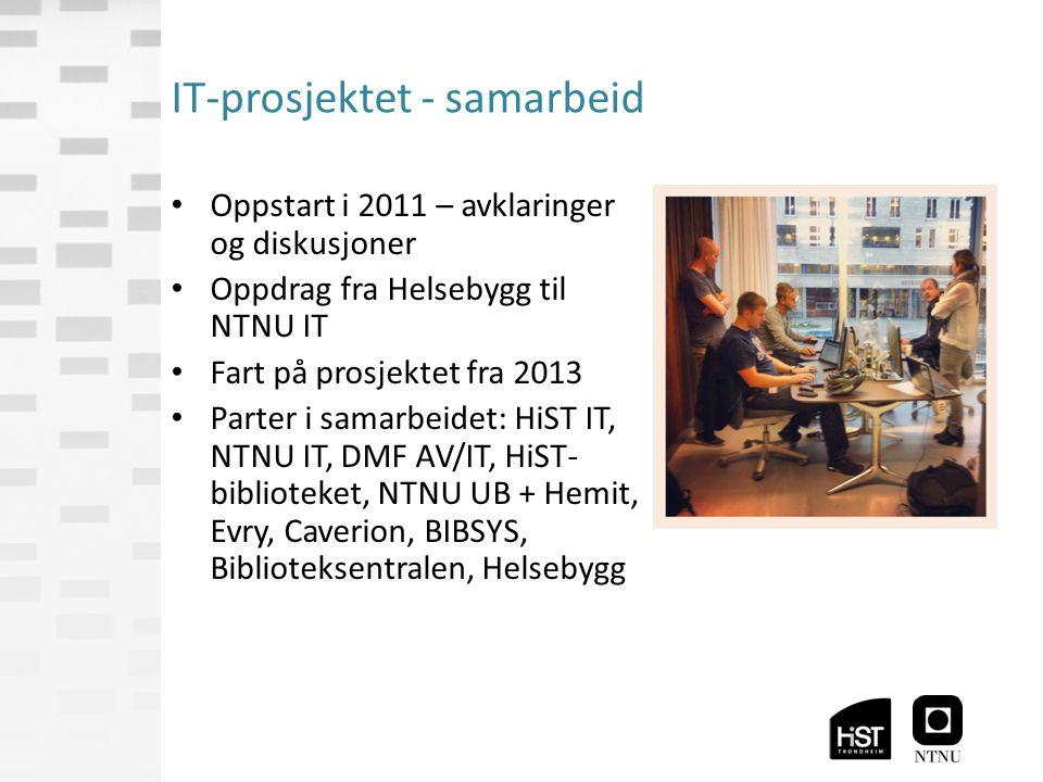 IT-prosjektet - samarbeid Oppstart i 2011 – avklaringer og diskusjoner Oppdrag fra Helsebygg til NTNU IT Fart på prosjektet fra 2013 Parter i samarbeidet: HiST IT, NTNU IT, DMF AV/IT, HiST- biblioteket, NTNU UB + Hemit, Evry, Caverion, BIBSYS, Biblioteksentralen, Helsebygg