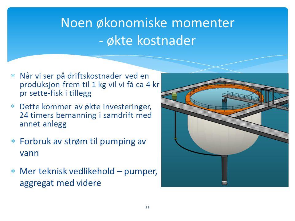 11 Noen økonomiske momenter - økte kostnader  Når vi ser på driftskostnader ved en produksjon frem til 1 kg vil vi få ca 4 kr pr sette-fisk i tillegg
