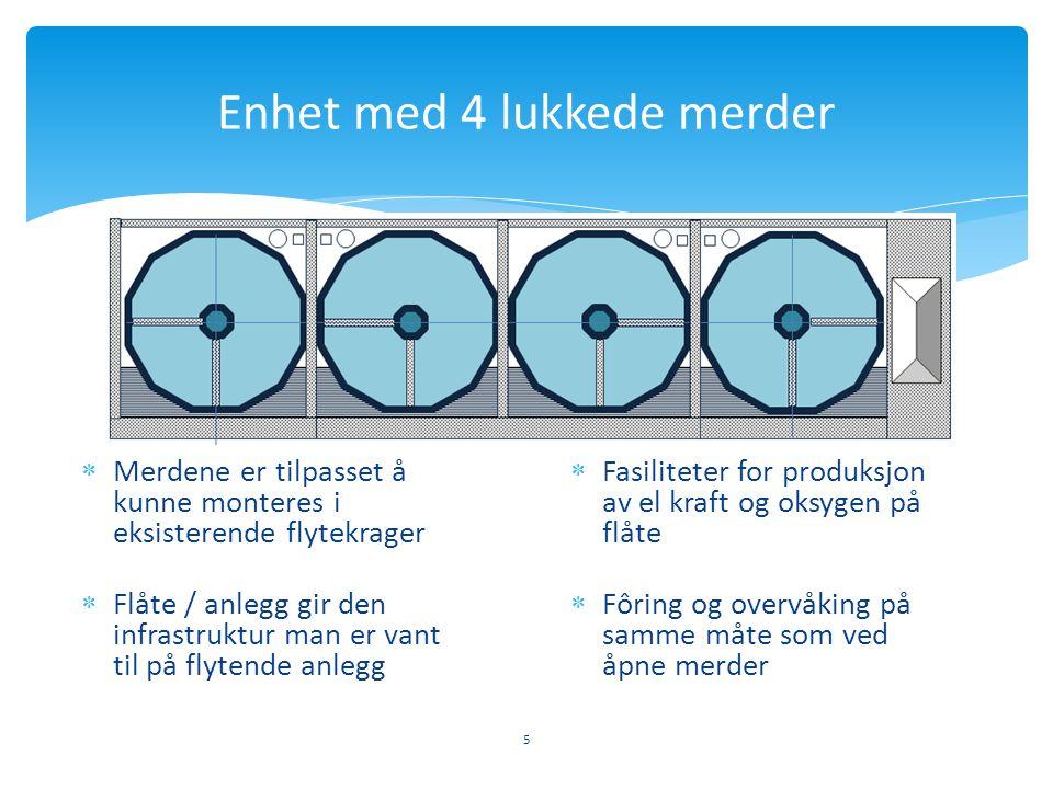 5 Enhet med 4 lukkede merder  Merdene er tilpasset å kunne monteres i eksisterende flytekrager  Fasiliteter for produksjon av el kraft og oksygen på
