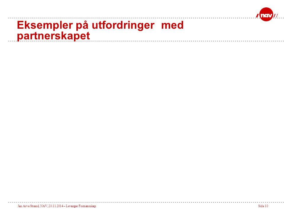 Jan Arve Strand, NAV, 20.11.2014 – Levanger FormannskapSide 10 Eksempler på utfordringer med partnerskapet