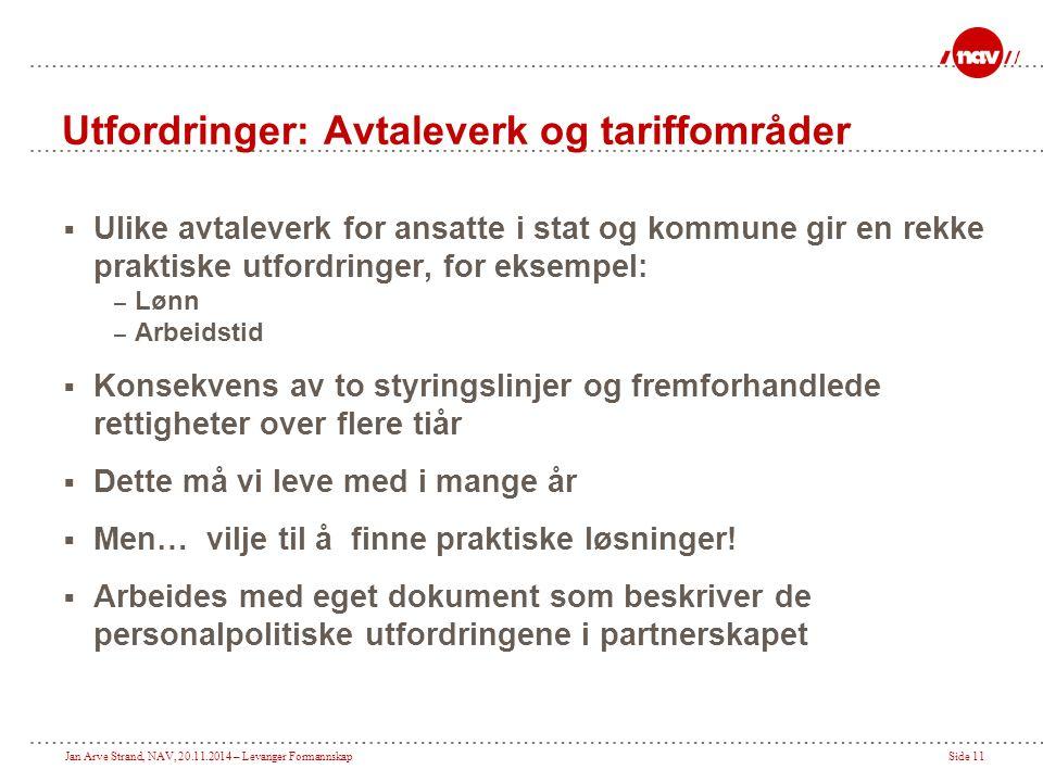 Jan Arve Strand, NAV, 20.11.2014 – Levanger FormannskapSide 11 Utfordringer: Avtaleverk og tariffområder  Ulike avtaleverk for ansatte i stat og komm